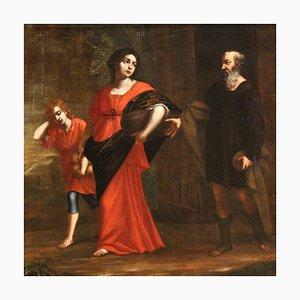 Pintura al óleo religiosa italiana antigua sobre lienzo, siglo XVIII