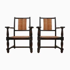Französische Mid-Century Armlehnstühle aus Holz & Binse, 2er Set