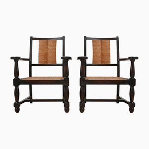 Mid-Century French Wooden and Rush Armchairs, Set of 2