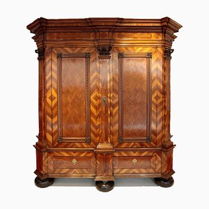 Baroque Cabinet in Walnut and Plum with 5 Pilasters, Westphalia, 1770s