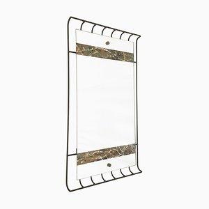 Italian Black Metal, Brass & Wood Wall Mirror, 1950s