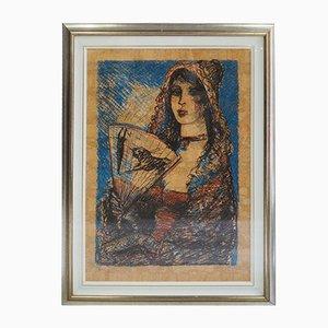 Litografía, Cesenate Salvatore Fiume, River Girl with Fan, 1982