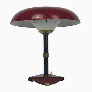 Lámpara de mesa italiana vintage de latón y laca, años 50
