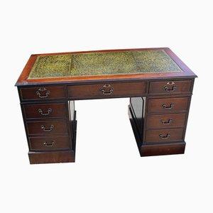 Green Leather & Mahogany Pedestal Desk, 1960s