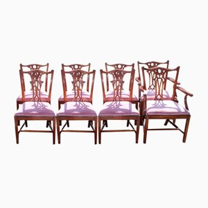 Chippendale Style Dining Chairs, 1960s, Set of 8