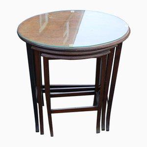 Mahogany & Glass Nesting Tables, 1960s, Set of 3