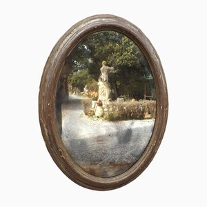 Grand Miroir Ovale avec Cadre du 17ème Siècle