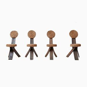 Sillas auxiliares francesas Mid-Century de cuerda de Adrien Audoux & Frida Minet. Juego de 4