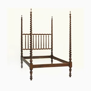 Antique French Spindle Wood Bed, 1900s
