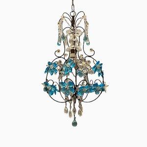 Lámpara de araña vintage de cristal de Murano azul, años 60
