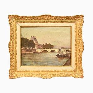 P. Sain, Pont Neuf in Paris, óleo sobre lienzo, siglo XIX