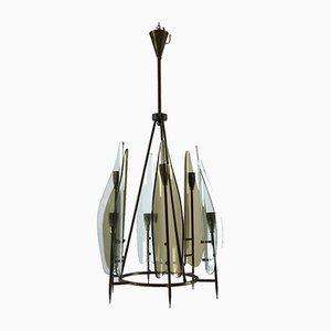 Lámpara de araña italiana de latón y vidrio de Cristal Art, años 60