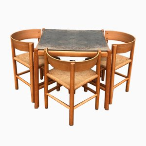 Beech Dining Table and Chair by Mogens Lassen For Fritz Hansen, 1960s, Set of 4