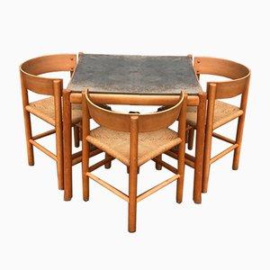 Tavolo da pranzo in faggio e sedia di Mogens Lassen per Fritz Hansen, anni '60, set di 4
