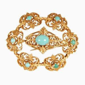 Broche victoriano antiguo de oro amarillo y turquesa