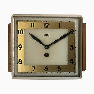 Art Deco Wooden Clock, Czechoslovakia, 1950s