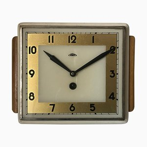 Reloj Art Déco de madera, Checoslovaquia, años 50
