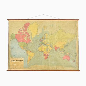 Grande Carte Murale du Monde Vintage de Philips