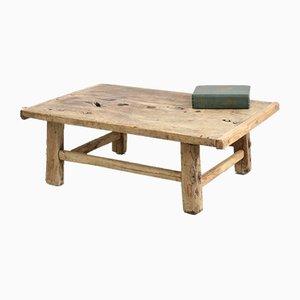 Mesa de centro antigua pequeña de olmo