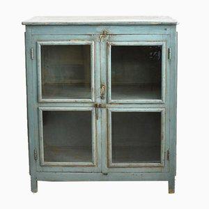 Blauer Vintage Schrank mit Glasfront