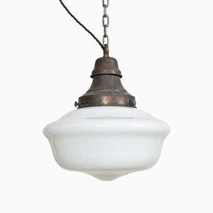 Antique Church Opaline Pendant Lights, Set of 2