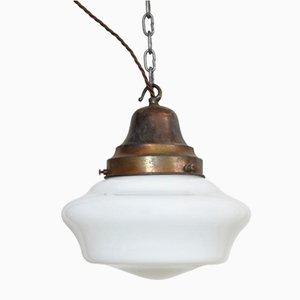 Lampe à Suspension d'Église Antique en Verre Opalin