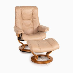 Mayfair Leather Armchair with Stool from Stressless, Set of 2