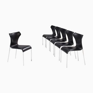 Papilio Black Leather Dining Chairs by Naoto Fukasawa for B&b Italia, Set of 6