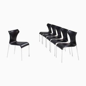 Schwarze Papilio Leder Esszimmerstühle von Naoto Fukasawa für B & b Italia, 6er Set