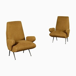 Armchairs in Foam Fabric and Metal by Nino Zoncada, Italy 1950s, Set of 2