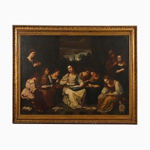 La scuola di cucito, olio su tela, XIX secolo