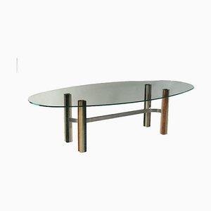 Tavolo in metallo cromato e marmo, Italia, anni '70
