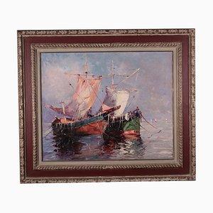 Marina con barche, olio su tela