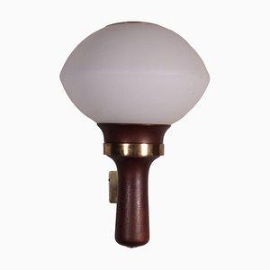 Lampada in legno, ottone e vetro opalino, anni '60