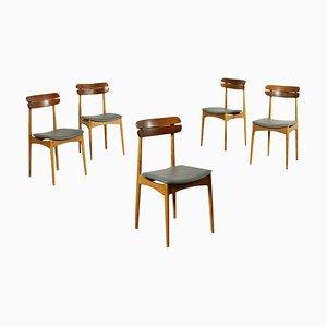 Beech and Mahogany Chairs, Italy, 1960s, Set of 5