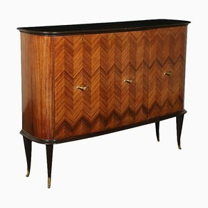 Veneered Stained Wood, Brass and Opal Glass Cupboard, Italy, 1950s
