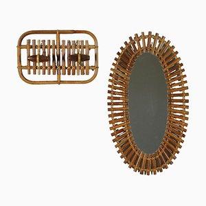 Perchero y espejo de bambú, Italia. Juego de 2