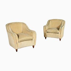 Velvet Armchairs, Italy, 1950s, Set of 2