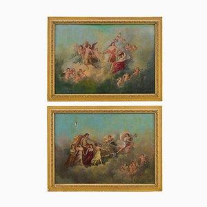 Venus und Apollo Gemälde, 2er Set