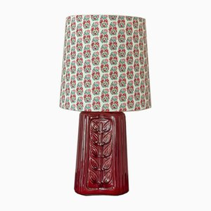 Red Stoneware Table Lamp by Gunnar Nylund for Rörstrand,1960s