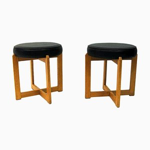 Scandinavian Oak Stools with Black Leatherette Seats from Simpnäs Snickeri, 1960s, Set of 2