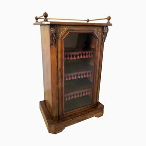 Mueble de música victoriano antiguo de nogal con incrustaciones