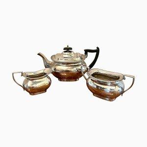Antikes dreiteiliges versilbertes edwardianisches Teeservice von Walker & Hall