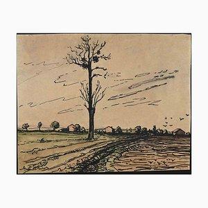 Desconocido, paisaje francés, dibujo con tinta china y acuarela, años 40