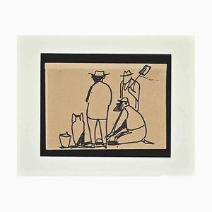 Brunello Ulloa Serena, Archeologi, Disegno a penna, 1960