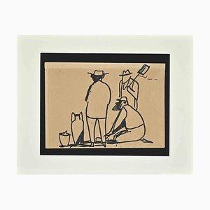 Brunello Ulloa Serena, arqueólogos, dibujo a pluma, 1960