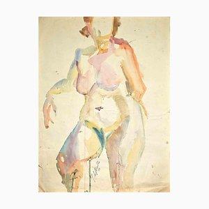 Silvio Loffredo, Nude of Woman, Watercolor, 1956