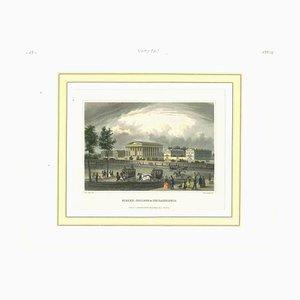 Unbekannt, Antike Ansicht von Philadelphia, Lithographie, Mitte 19. Jh