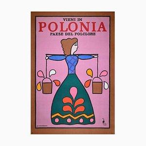 Unbekanntes, polnisches Werbeplakat für Touristen, Vintage Offsetdruck, 1970er