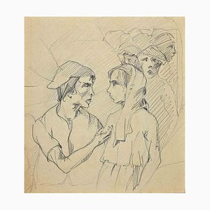 Unknown, Stage Actors, Pen and Pencil Drawing, 1920s
